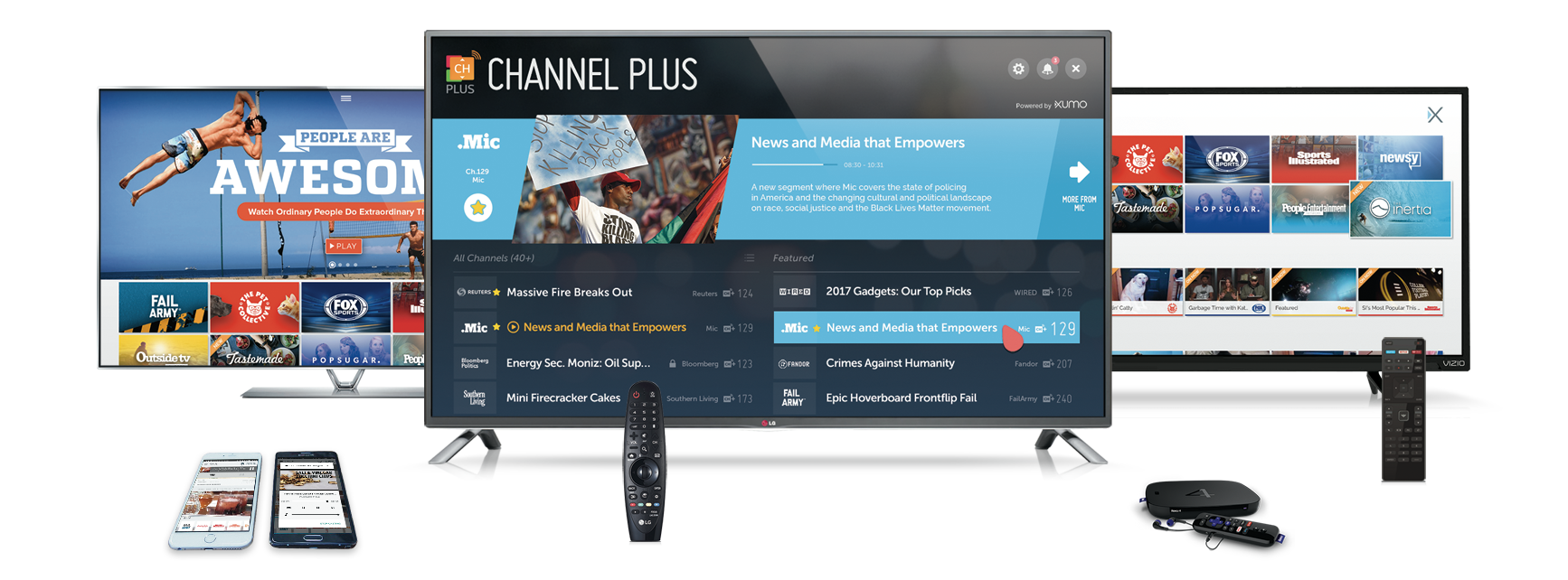XUMO for smart TV, Roku, iOS and Android